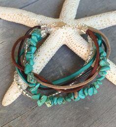 Multistrand leather and suede bracelet by Carolinelenox on Etsy, $35.00