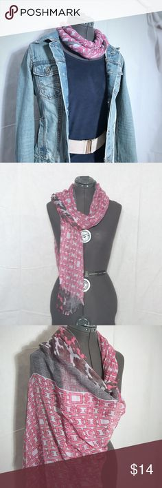 Scarf/Wrap Very large beautiful scarf, can also be used as wrap. Shades of pink and gray with multiple patterns. Accessories Scarves & Wraps