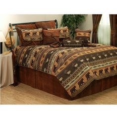 Bedding Friendly Landscape Quilted Bedspread & Pillow Shams Set Fresh Canopy Forest Print