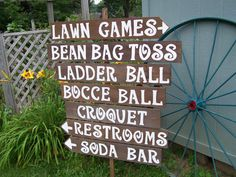 Lawn game signs / yard game signs / outdoor weddings / corn hole sign / ladder golf sign / rustic wedding signs / back yard game signs - Lawn Games Wedding Games Signs, Wedding Yard Games, Wedding Reception Signs, Rustic Wedding Signs, Outdoor Wedding Decorations, Outdoor Weddings, Wedding Ideas, Trendy Wedding, Wedding Backyard