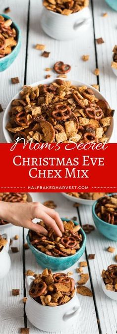 I made this typical Chex Mix recipe & it was pretty easy. I adjusted some amounts to add some extra ingredients I had on hand. There are a lot of Chex Mix recipes--this one is easy & basic. Best Christmas Appetizers, Christmas Snacks, Christmas Cooking, Christmas Chex Mix, Holiday Snacks, Christmas Goodies, Christmas Christmas, Weight Watcher Desserts, Snack Mix Recipes