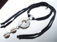 Statement Necklace, the components of necklace are hand-forged in aluminum, with beautiful mother of pearl, adjustable. Info  price: dendesign@live.com