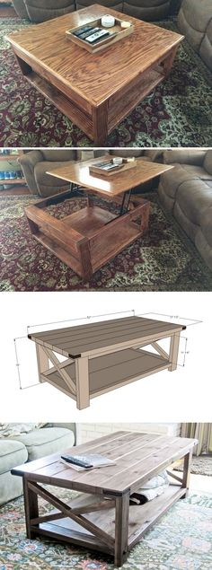 40 Easy DIY Coffee Tables You Can Build on a Budget - how to build a #DIY #rustic lift top coffee table #homedecor