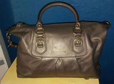 $428 Coach Ashley Leather Satchel Shoulder Bag Handbag Bronze Metallic  EUC  #Coach #ShoulderBag