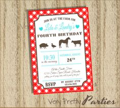 DIY Printable Modern Farm Birthday Party Invitation - Modern Farm Invite - You choose the colors