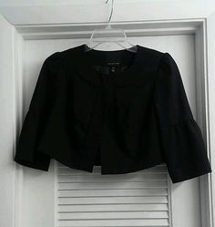 The Limited Black Cropped Bolero Blazer Bell 3/4 Sleeves Career Jacket XS
