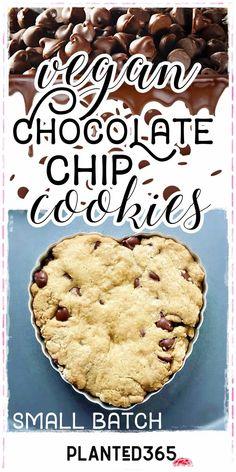 Vegan Chocolate Chip Cookies Small Batch Gluten-Free Recipe Healthy Vegan Desserts, Vegan Dessert Recipes, Vegan Sweets, Delicious Vegan Recipes, Dairy Free Recipes, Yummy Food, Healthy Recipes, Healthy Eats, Cookie Recipes