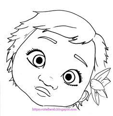 Cute Baby Moana Face Coloring Page - Free Coloring Pages Online Moana Coloring Pages, Easy Coloring Pages, Cartoon Coloring Pages, Coloring Pages For Kids, Adult Coloring, Coloring Books, Moana Disney, Art Disney, Moana Drawing