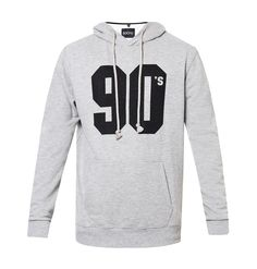 90's Hoodie by Social Jetlag, hoodie with a basic cut with a misty grey color and typography print, made from good material, long sleeves. Pair it with black slim fit jeans and sneakers for a casual look, simple but eye catching. http://www.zocko.com/z/JFejJ
