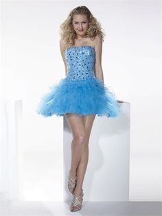 Ball Gown Strapless with Beadings and Ruffles Short Tulle Homecoming Dress HD1703 www.homecomingstore.com $132.0000