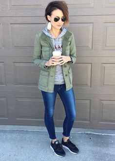 Everyday Style ideas including ankle boots, cardigan, denim jacket, dress, graphic sweatshirt, plaid, stripes, leather earrings