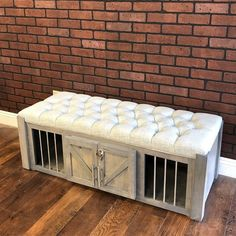 Ottoman Dog Crate – small dog kennel / Soft Cushion Top / Fully Custom / Dog House / Credenza / rustic furniture / farmhouse pet rustic – Mary D. Dog Crate Sizes, Diy Dog Crate, Soft Dog Crates, Pet Crates, Dog Crate Furniture, Rustic Furniture, Repurposed Furniture, Furniture Ideas, Custom Dog Houses