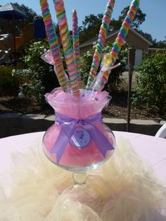 Spoonful of Sugar Custom Candy Buffets: Whimsical Unicorn Party. wouldn't all the mum's be thrilled! Rainbow Unicorn Party, Unicorn Birthday Parties, 2nd Birthday, Birthday Ideas, Birthday Favors, Party Centerpieces, Birthday Party Decorations, Baby Shower Decorations, Tulle Decorations