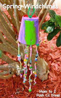 """Easy Spring (Paper Cup) Wind Chimes"" arts and crafts project, from the Mom to 2 Posh Lil Divas blog - I'm sure we could do this as a kids craft for any holiday!"