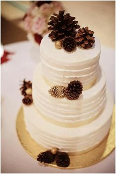 I'm going for a fall rustic wedding and I love using the pine cones! Don't like the cake itself just the pine cones plus I would add some fall colorful flowers