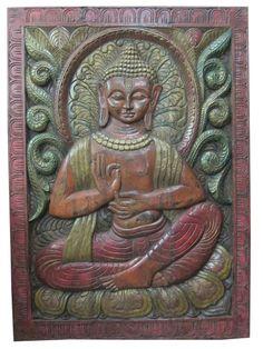 Yoga Decor Wall Panels Buddha in Vitarka Mudra Hand Carved Door #vastuveda #Asian