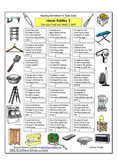 House Riddles - Hard - English ESL Worksheets for distance learning and physical classrooms English Riddles, English Games, English Activities, English Vocabulary, English Language Learning, Teaching English, English Lessons, Learn English, Esl