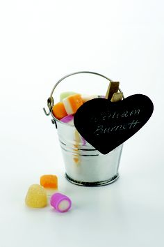 Silver pail with blackboard place cards