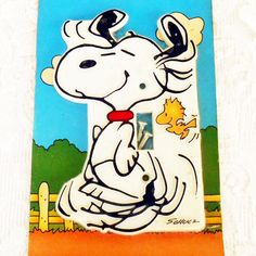 Vintage in Original Shrinkwrap Packaging- Snoopy Handpainted Switchplate Switch Plate by Monogram Products in Largo FL. Says c1965 United Features
