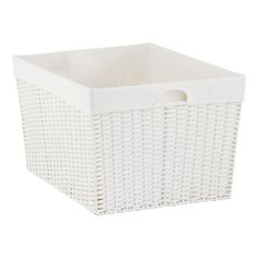 White Montauk Rectangular Basket   The Container Store - measure bathroom shelf - for TOWELS
