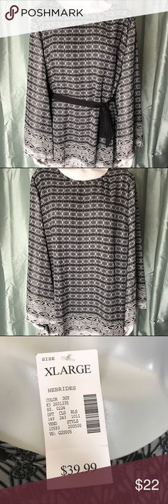 Fashion Bug gray patterned blouse Beautiful long sleeve top with gray and black pattern. Brand new with tags! Wear it with or without the included black sash. Comfortable and elegant! Fashion Bug Tops Blouses