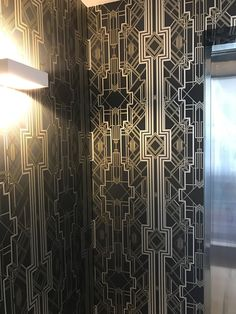 Black and gold wallpaper. Make a statement! Gold Wallpaper, Gatsby, 1920s, Black Gold, Curtains, Room, How To Make, House, Home Decor