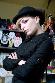 Black poplin long sleeve shirt female division by Sclothing