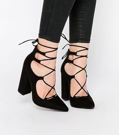 Shop New Look Suedette Lace Up Block Heel at ASOS. Lace Up Block Heel, Block Heels, Hot Shoes, Shoes Heels, Black Lace Up Heels, Sexy Sandals, Prom Heels, Cute Heels, Pretty Shoes