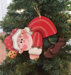 Handpainted Christmas elf Ornament by stephskeepsakes on Etsy, $8.49