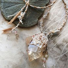 'Moonlit Path' ~ natural Citrine talisman with eco silk braid Druzy Jewelry, Wire Jewelry, Jewelery, Gemstone Pendants, Diy Jewellery, Healing Crystal Jewelry, Crystal Gifts, Magical Jewelry, Bracelet Knots