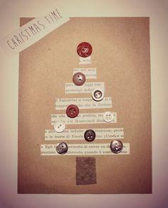 at home for tea time: Christmas cards (first part) Button Christmas Cards, Christmas Buttons, Christmas Card Crafts, Homemade Christmas Cards, Christmas Tag, Homemade Cards, Handmade Christmas, Tarjetas Diy, Karten Diy