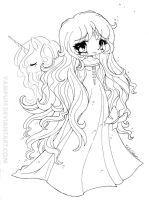 Amalthea Lineart - The Last Unicorn by YamPuff