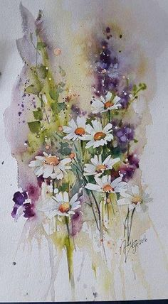 Margertiten und RitterspornPhoto Margertiten und RitterspornPhoto The post Margertiten und RitterspornPhoto appeared first on Blumen ideen. Watercolor Pictures, Watercolor And Ink, Watercolour Painting, Watercolor Flowers, Painting & Drawing, Watercolors, Watercolor Daisy Tattoo, Floral Artwork, Watercolor Landscape
