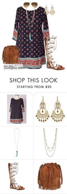 """Plus Size Boho Dress - Society+"" by iamsocietyplus on Polyvore featuring Amrita Singh, Leslie Danzis, BCBGeneration, Louise et Cie, Patricia Nash, Ray-Ban, plussize, plussizefashion, societyplus and iamsocietyplus"
