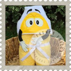 Candy Man Yellow hooded towel design. #Embroidery #Applique