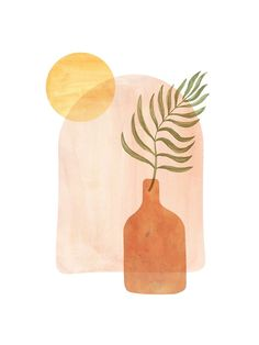 """""""Boho vase and palm leaf"""" Framed Art Print by WhalesWay 