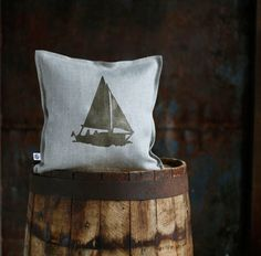 Boat print on gray linen pillow cover hand painted  by pillowlink, $35.00