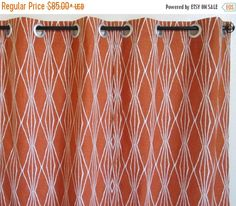 """FREE SHIPPING SALE Pair of grommet curtains 50"""" or 25"""" wide drapery panels window treatment Robert Allen Handcut Shapes Charcoal orange geom"""