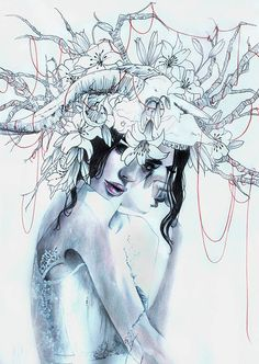 Gaia Alari's 'In Vain', 2015. Watercolour, coloured pencil, pencil, ballpoint pen on 220g smooth paper, is part of the new artist 'ON THE RISE' special feature in #beautifulbizarre Issue 009    Pick up your print copy of beautiful.bizarre via our stockists www.beautifulbizarre.net/stockist   or Buy the print or digital art book via our webstore www.beautifulbizarre.net/shop