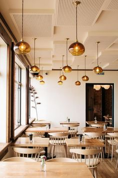 Amber dome pendants by Monmouth glass studio // The Esplanade : Cheshire Architects