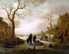 Isaac van Ostade - IJsgezicht met schaatsers op het bevroren meer (1645)