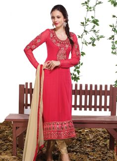 Be an angel and create and establish a smashing influence on any person by carrying this hot pink georgette designer straight salwar kameez. Look ravishing clad in this attire which is enhanced embroi...