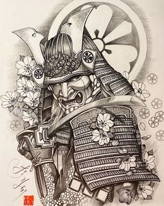 Japanese Warrior Tattoo, Japanese Tattoo Art, Japanese Tattoo Designs, Japanese Sleeve Tattoos, Full Sleeve Tattoos, Samurai Tattoo Sleeve, Samurai Warrior Tattoo, Shoulder Armor Tattoo, Warrior Tattoos