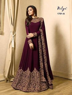 Drashti dhami brown designer anarkali suit online which is crafted from georgette fabric with exclusive zari embroidery. This stunning designer anarkali suit comes with santoon bottom, inner santoon and georgette dupatta. Indian Gowns Dresses, Indian Fashion Dresses, Abaya Fashion, Pakistani Dresses, Indian Outfits, Pakistani Suits, Dress Fashion, Eid Dresses, Suit Fashion