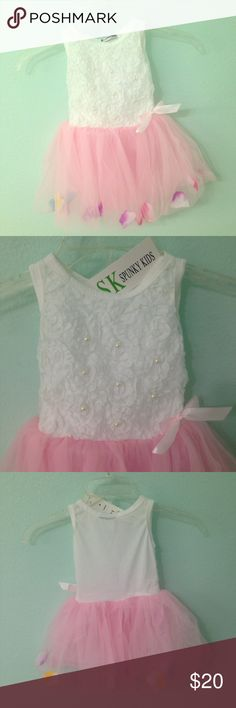 Flower petal tutu dress 100% new. Soft and breathable Cotton fabric Comfortable to touch and wear 1pcs ONLY, any other accessories NOT included! Flower petals in the hem, adjust them to one location or spread them all around. Super cute.  size: 6-12M Dresses
