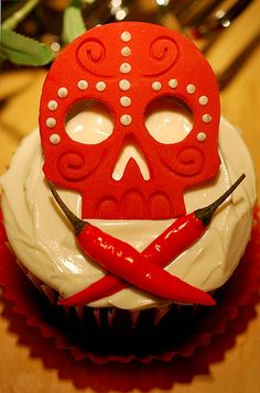 Chocolate Chipotle del Muertos ~ cute decoration idea for the mexican hot chocolate cupcakes!