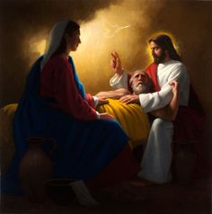 """catholicconnect: """"""""The Lord has arrayed Joseph, like with a sun, in all which the saints possess together in regard to light and splendor."""" -St Gregory of Nazianzus 🎨The Death of Saint Joseph, with Mary and Jesus by Neilson Carlin, Catholic. Image Jesus, Jesus Christ Images, Jesus Art, Catholic Art, Catholic Saints, St Joseph Catholic, Christian Images, Christian Art, Jesus Reyes"""