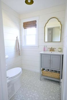 Small bathroom with shiplap walls ways to add to your farmhouse bathroom the everyday home small . small bathroom with shiplap Bathroom Renos, Bathroom Flooring, Bathroom Ideas, Tile Flooring, Bathroom Designs, Bathroom Renovations, Bathroom Small, Shiplap Bathroom, Budget Bathroom