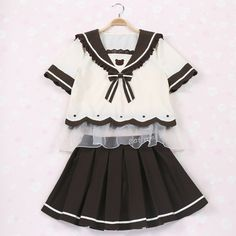 {Set}Afternoon Tea Cookie Sailor Collar Seifuku Unifrom Blouse Top + Pleated Skirt Free Ship SP140982