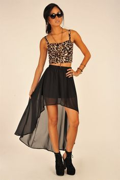 This leopard bralet paired with a sheer fishtail skirt is awesome. Such a fun summer look.